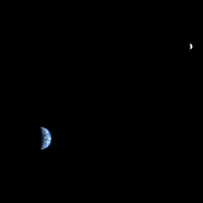 An image of Earth and the moon, acquired on October 3, 2007, by the HiRISE camera on NASA's Mars Reconnaissance Orbiter