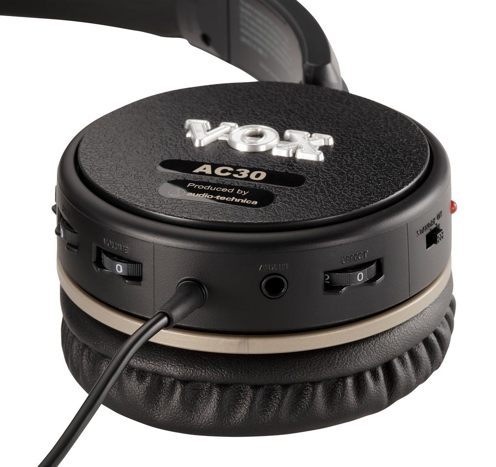 Gain, tone, volume and effects are controlled on the headphones