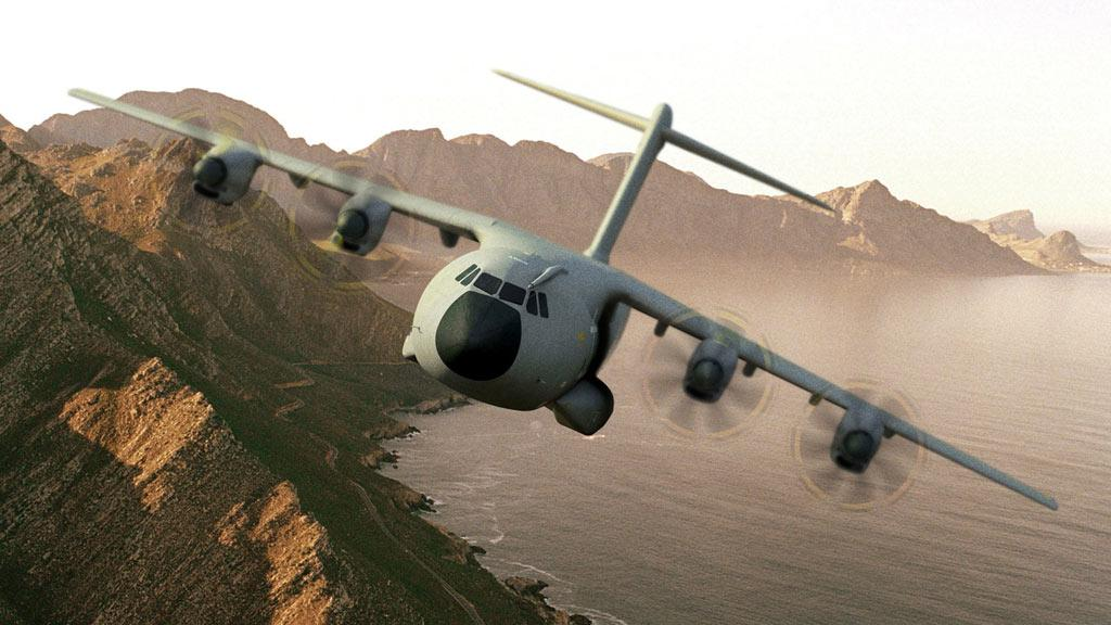 Airbus Military's A400M in the skies above Seville, Spain on its maiden flight