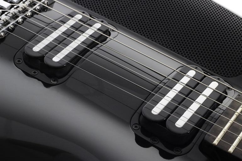 The Fusion Guitar has two hot rail humbucking pickups