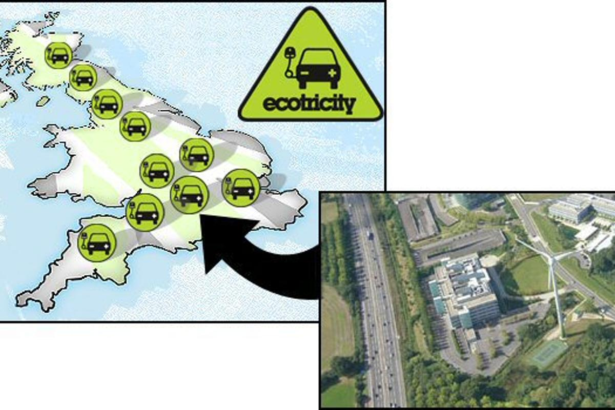 Green Energy innovator Ecotricity has unveiled plans to install a national network of electric vehicle charging points powered by renewable energy, one of which is the first in the world to get its power directly from a wind turbine