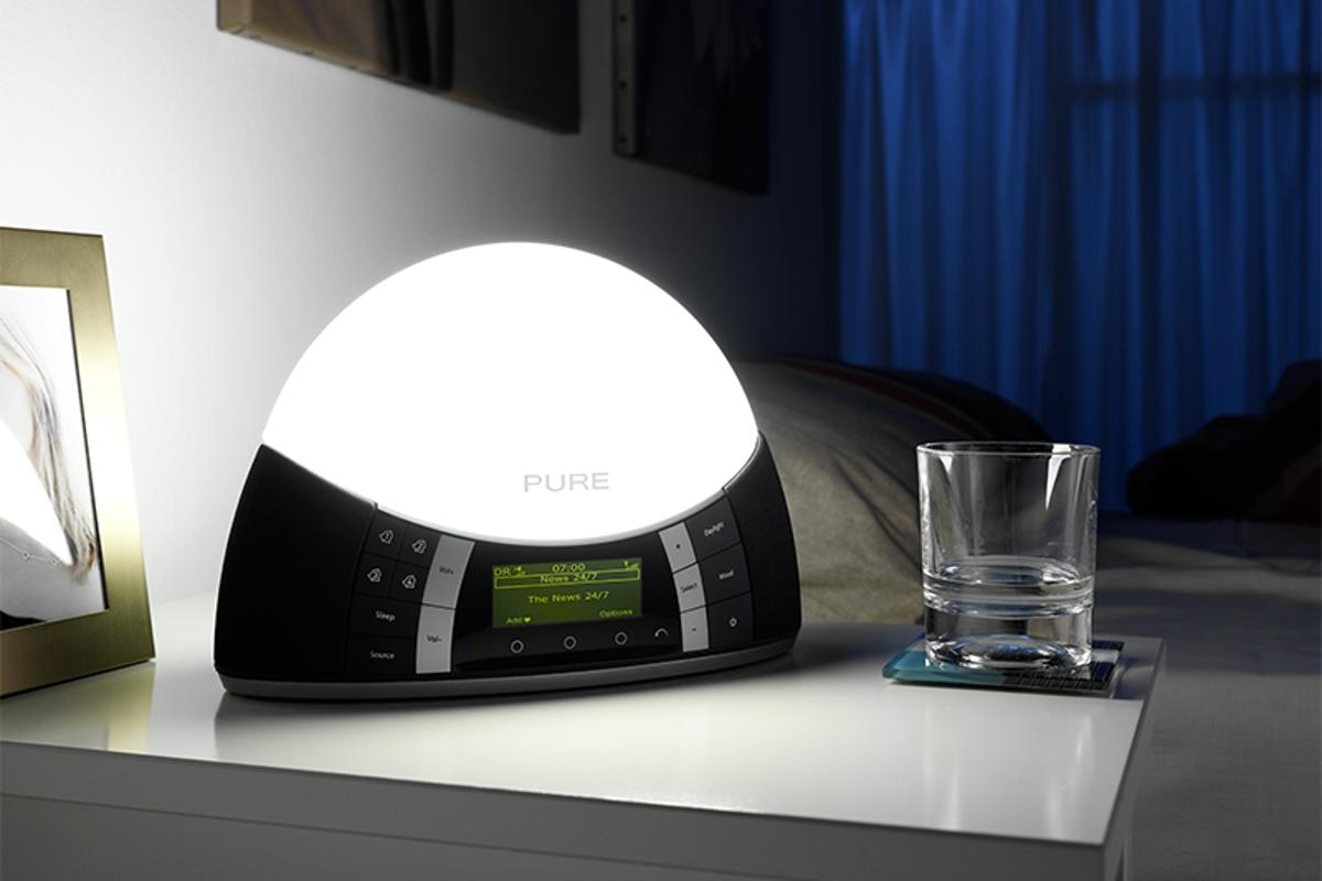 Pure has claimed the crown for the world's first sunrise simulator and digital radio combination - the Twilight Bedside Digital and FM Radio with Mood and Wake-up Light