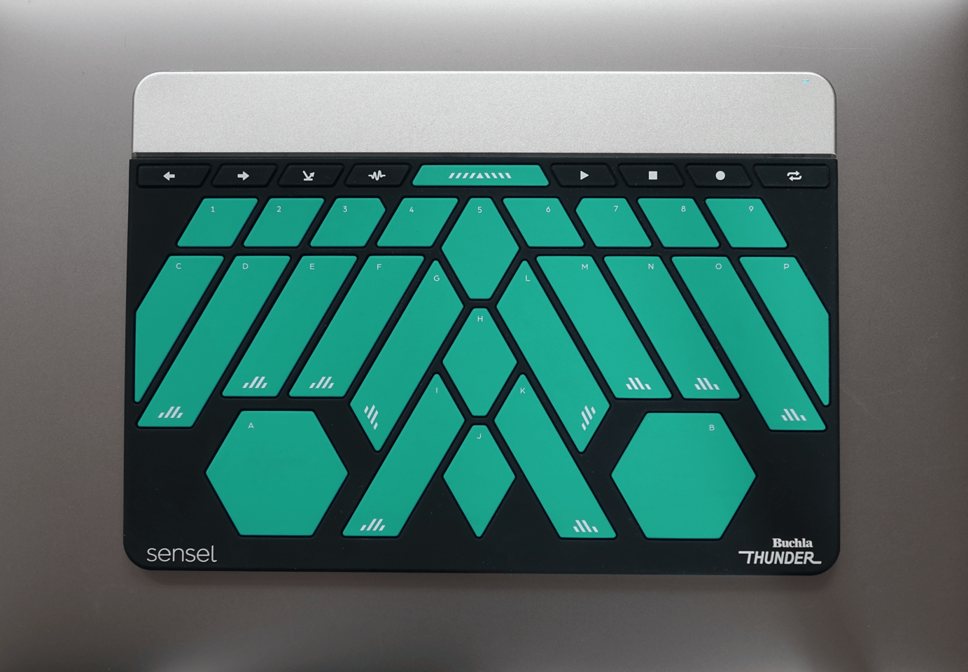 Each of the Buchla Thunder's expressive keys laid out in an eye-catching totem design transmits a different note