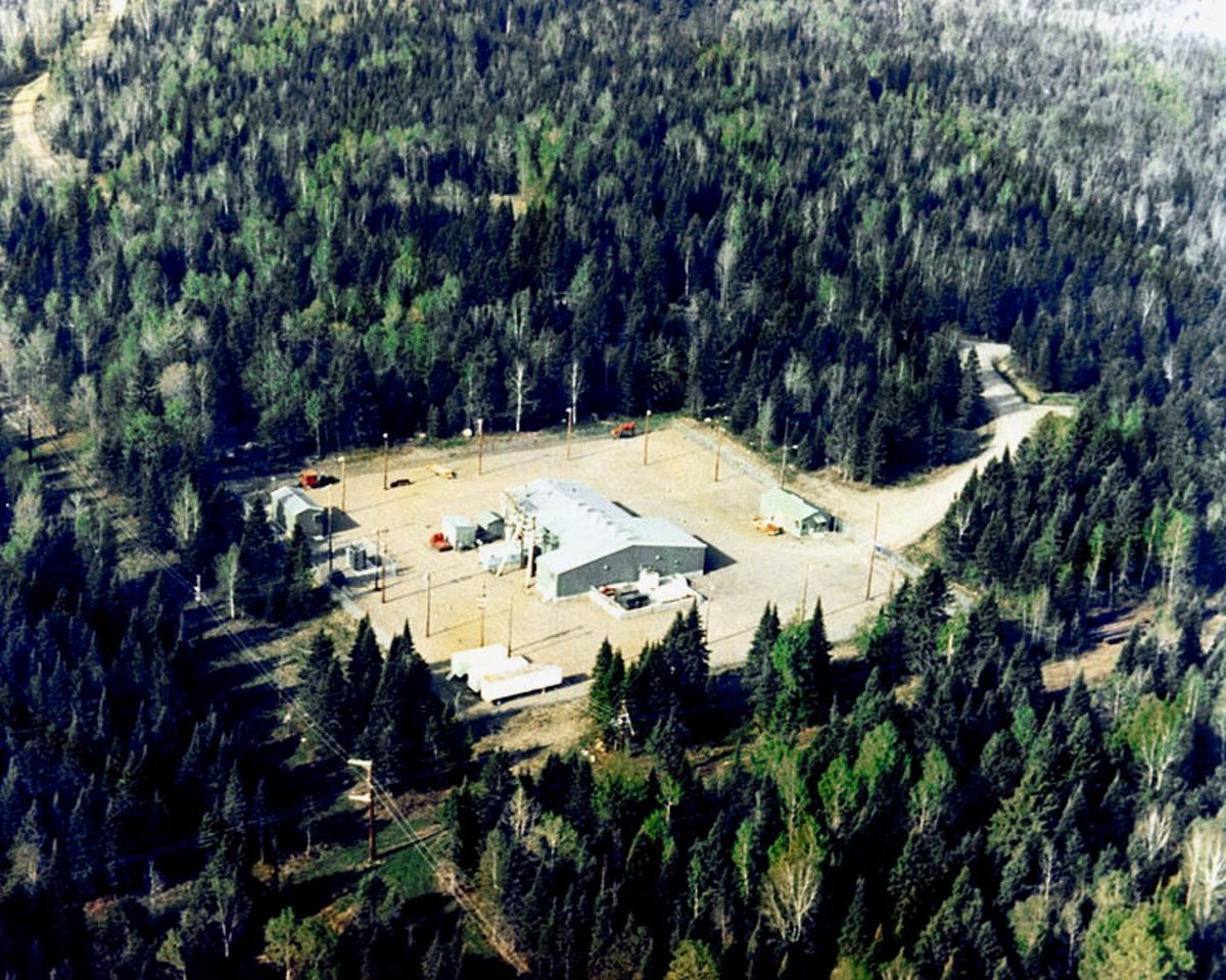 Aerial view of the Clam Lake, Wisconsin ELF facility for submarine communications in 1982