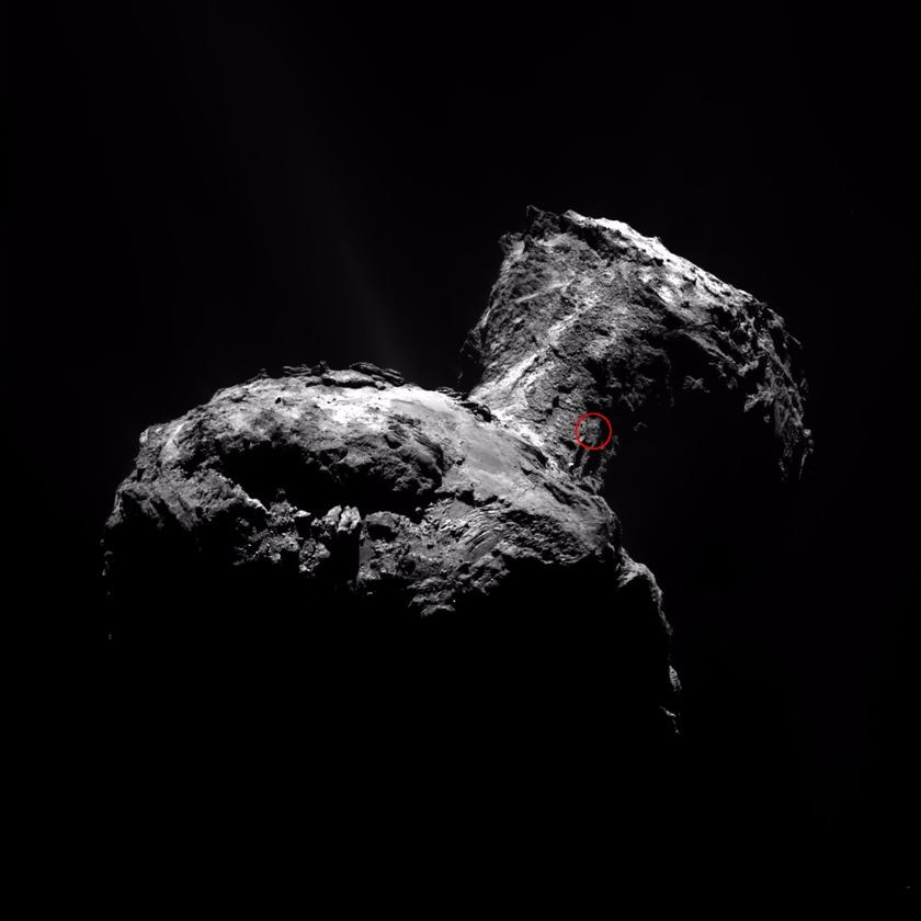 This image captured April 12 shows the origin of the jet on the comet's nucleus in a small red circle