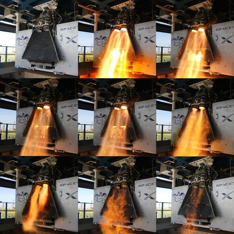 SpaceX's SuperDraco thrusters undergoing testing at the company's facility in Texas