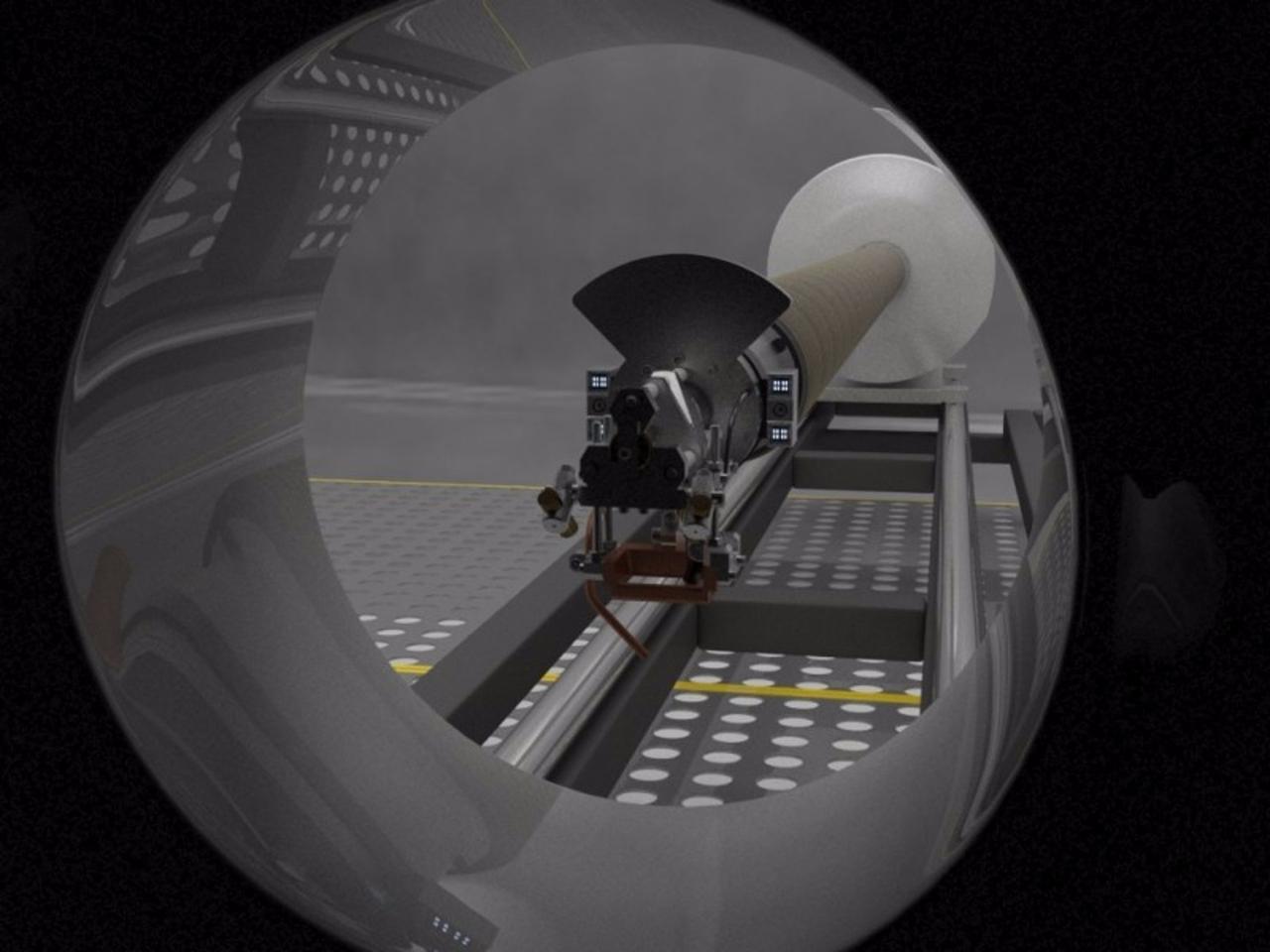 LaserPipe approaching work area