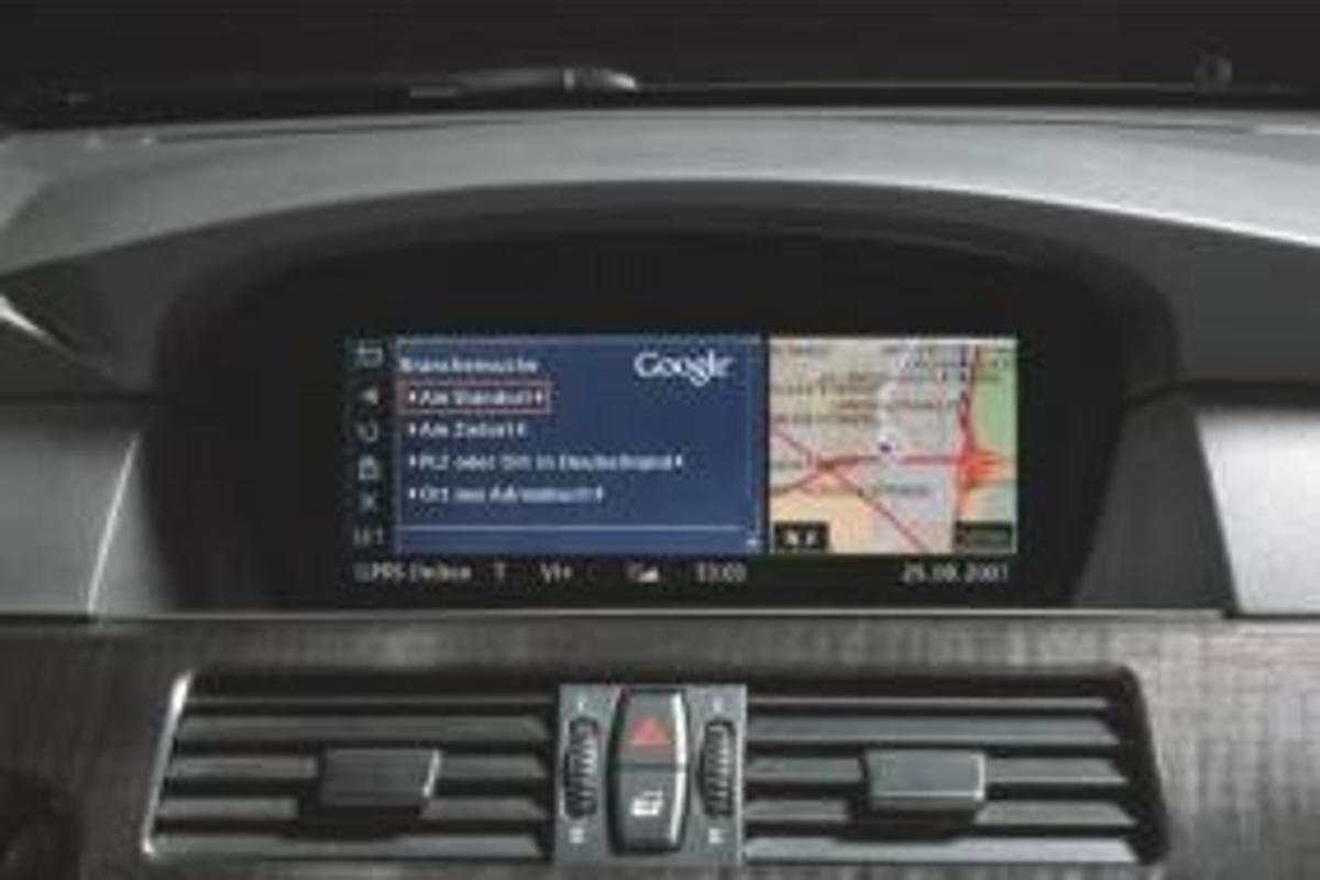 BMW's in-dash ConnectedDrive navigation system, now featuring Google Local Search abilities.