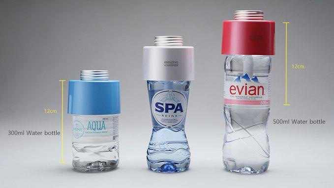 The Amazing Humidifier works with a variety of water bottle shapes and sizes