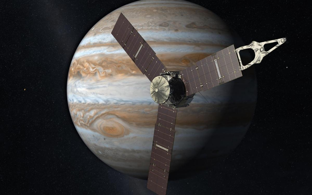 Artist's concept of Juno, which is approaching the halfway mark of its sciencemission