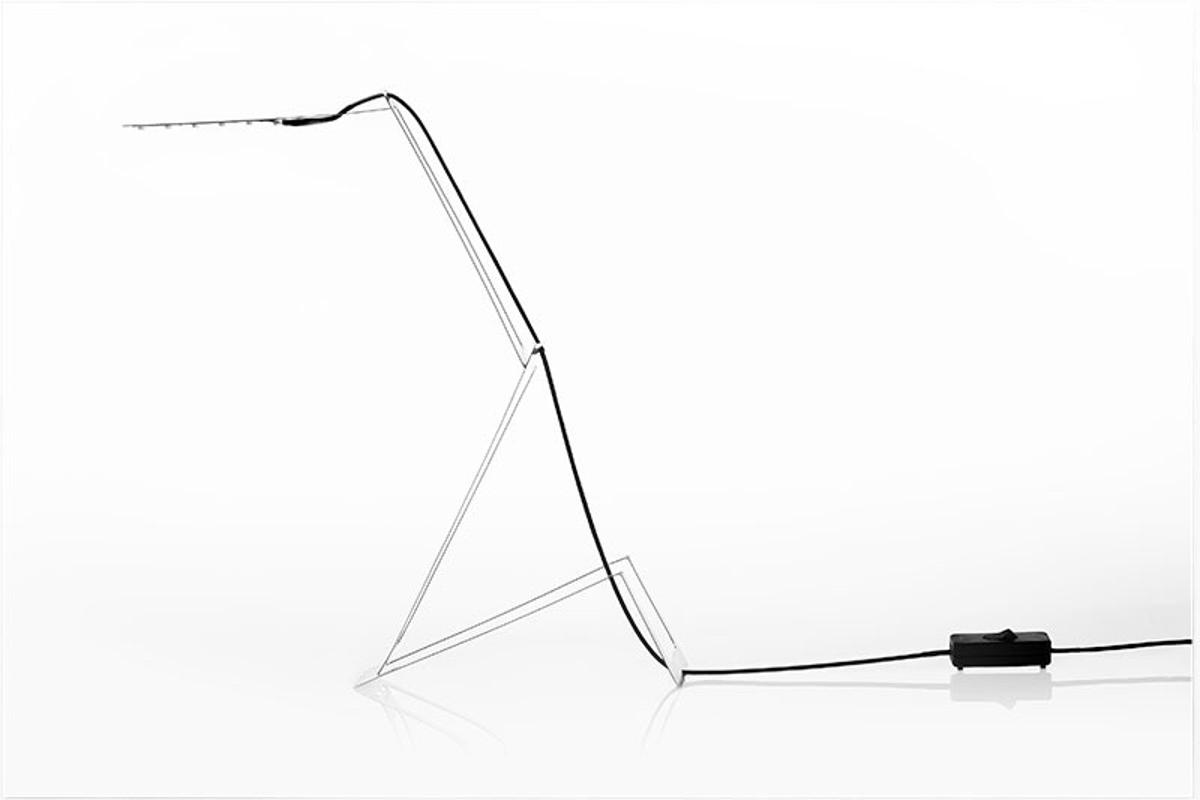 Masiosare Studio's Flaca low-energy, stainless steel desk lamp can be bent into shape with the user's bare hands