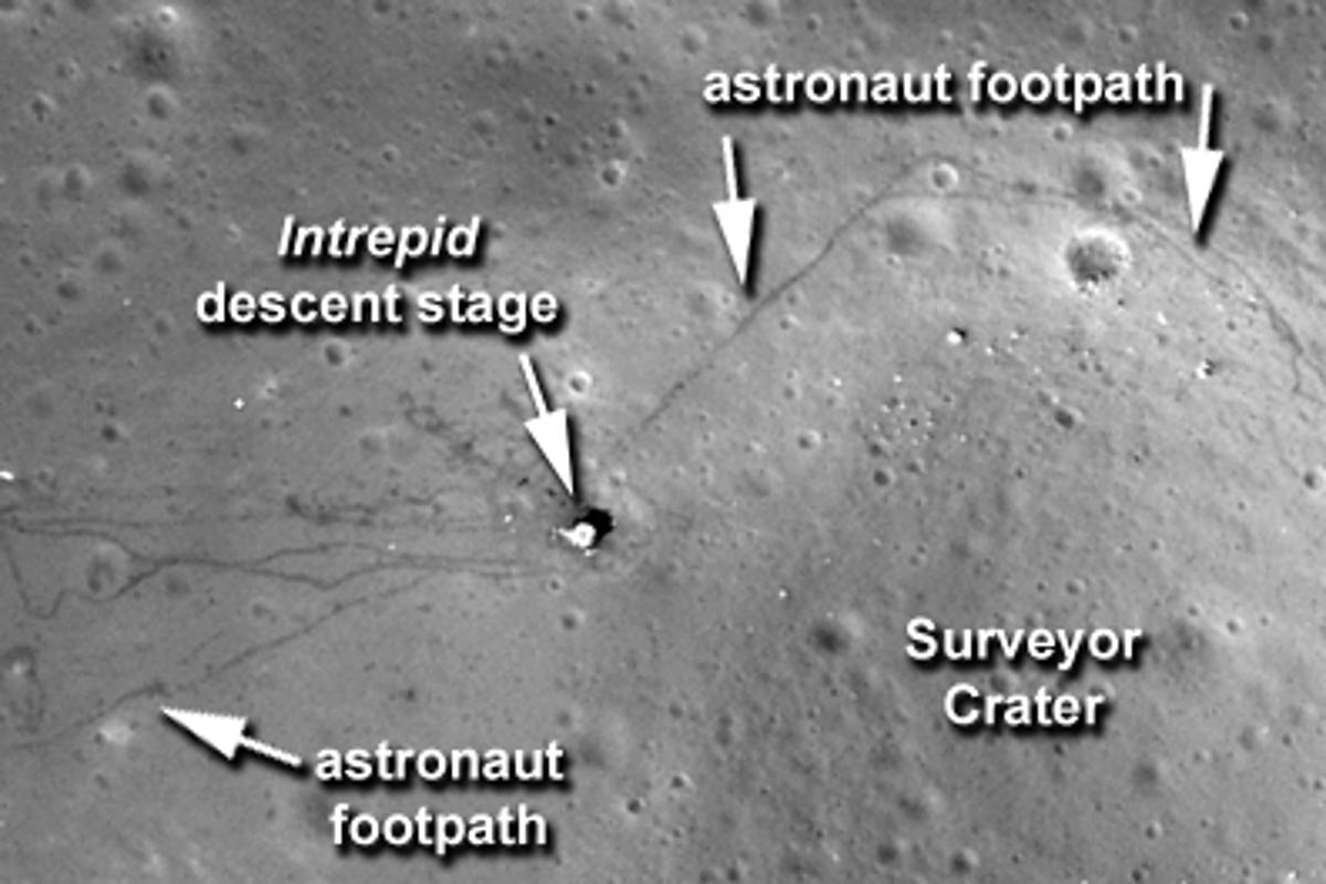 The Apollo 12 landing site, as photographed by LROC