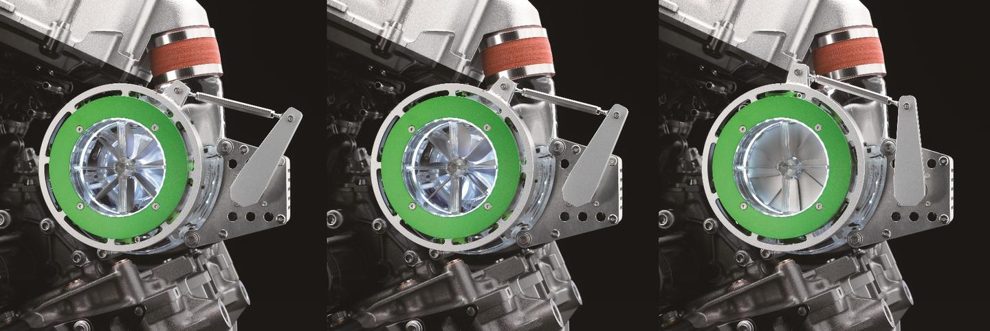 The technology disclosed with the showing of the engine is Kawasaki's use of electronically-controlled flaps in the supercharger intake which allow both the volume and direction of intake air to be regulated for increased efficiency
