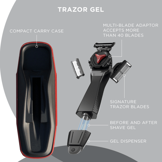 With Trazor, shaving gel and aftershave are IN the handle with a convenient pump system