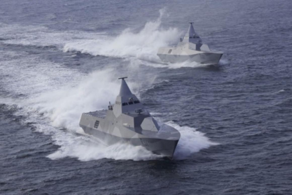 Stealth ships: HMS Helsingborg and HMS Visby.Photo: Peter Nilsson/Kockums AB