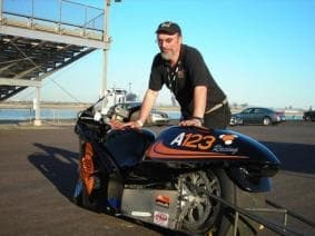 Owner Bill Dube with the Killacycle electric drag bike - before he crashed it into a van.