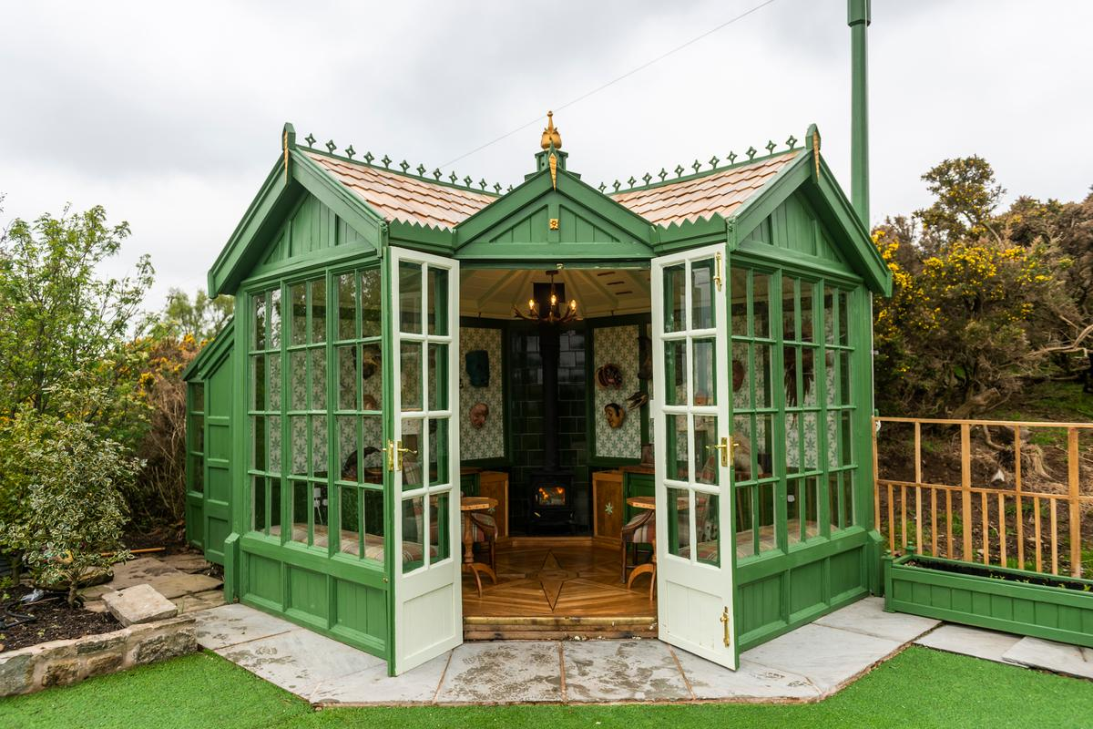 Clutterbuck Lodge, by Martin Gabbutt, is an artist studio and place to have a drink with friends, and is made from recycled furniture. The project, a finalist in the Cabin/Summerhouse category, is one of 22 amazing sheds highlighted in this year's Cuprinol Shed of the Year competition