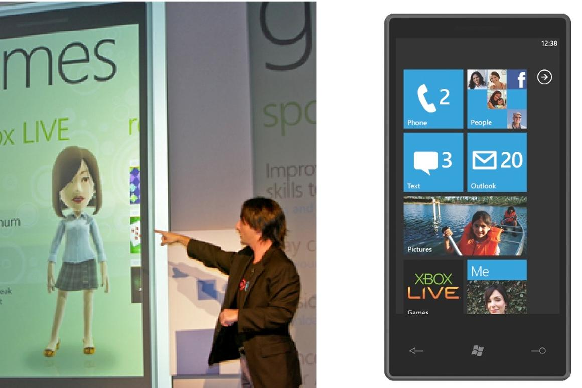 """Left: Joe Belfiore, corporate VP of Microsoft Windows Phone Program Management, demonstrates how Windows Phone 7 Series brings Xbox LIVE games to the mobile phone. Right: The home screen on the phone can be customized with """"live tiles"""" that show the latest updates from the Web"""