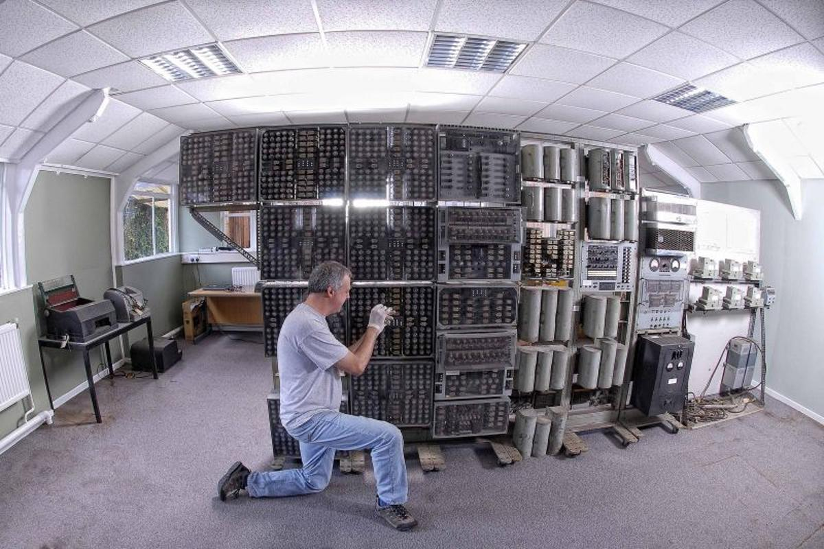 The Harwell computer as it appeared shortly after arrival at the National Museum of Computing (Photo: National Museum of Computing)