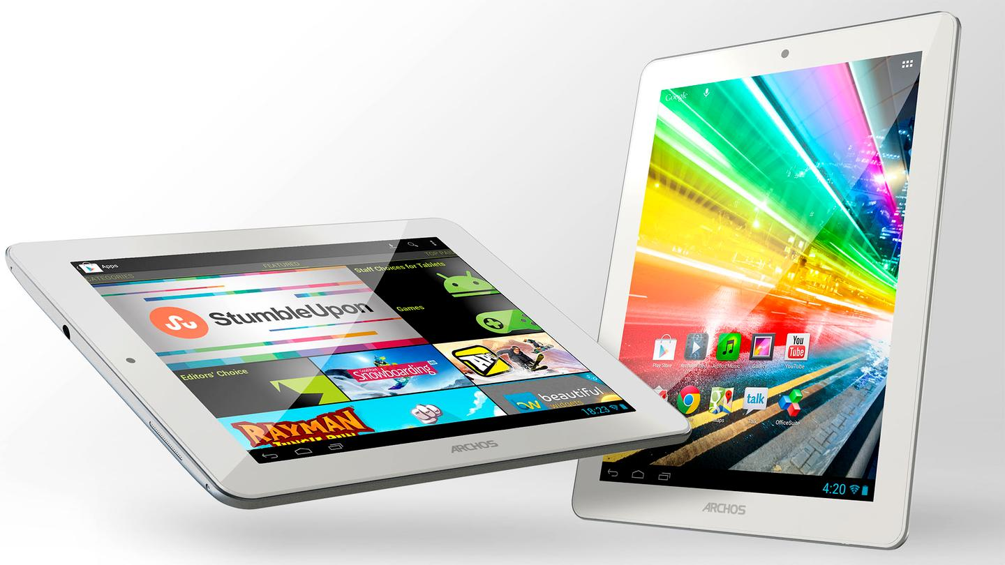 The 80 Platinum (left) takes cues from the iPad mini, while the 97 Platinum HD borrows from the 3rd or 4th-generation iPad