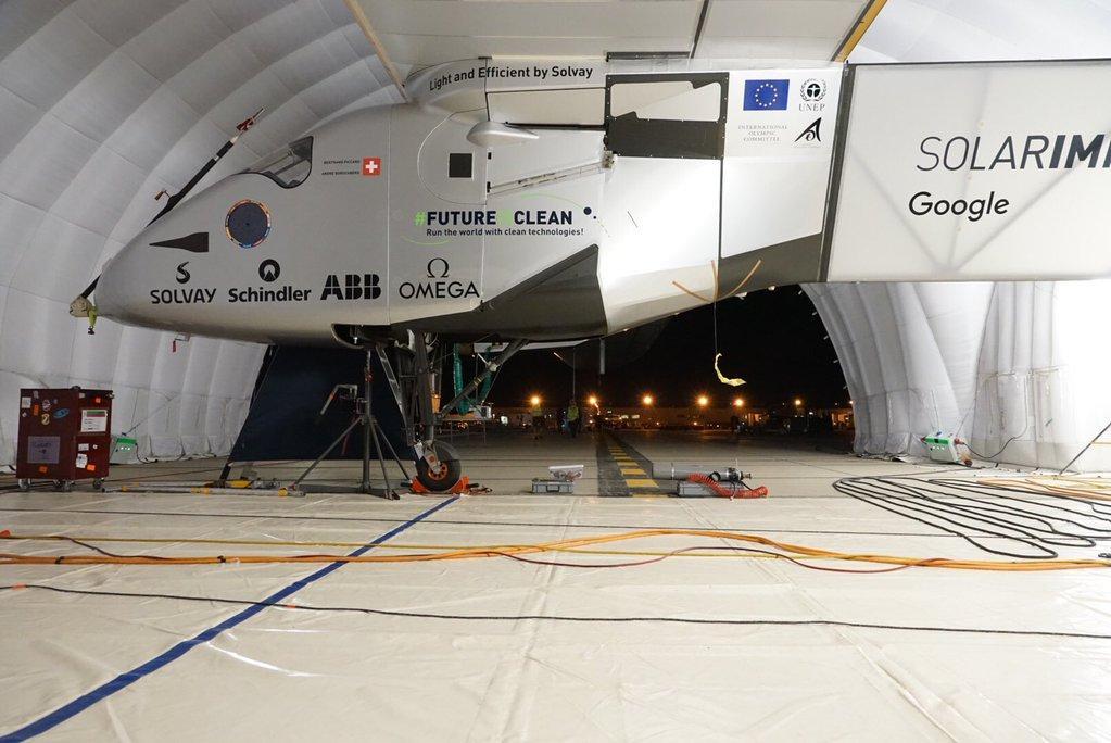 Solar Impulse 2 inside the mobile hangar