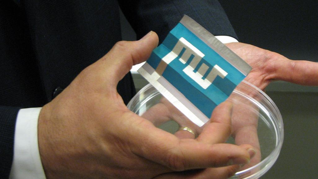 A solar cell printed on paper to spell MIT (Image: CNET)