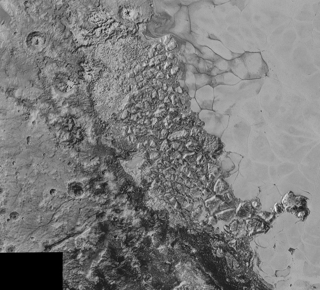 This shot of the northwestern region of Sputnik Planum, roughly 300 miles (470 km) wide, displays broken terrain