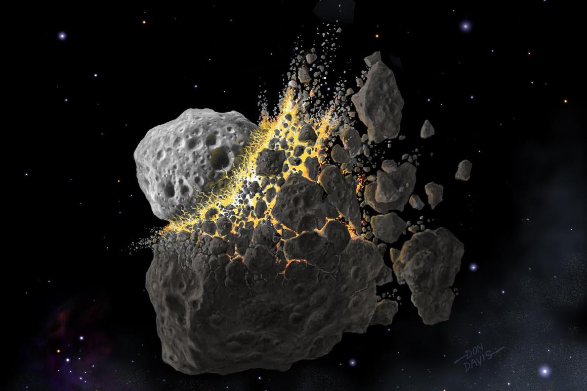 Artist's impression of the asteroid collision that may have prompted an ice age