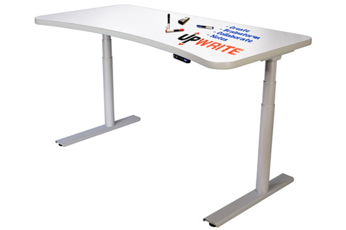 The UpWrite sitting or standing desk features a whiteboard surface