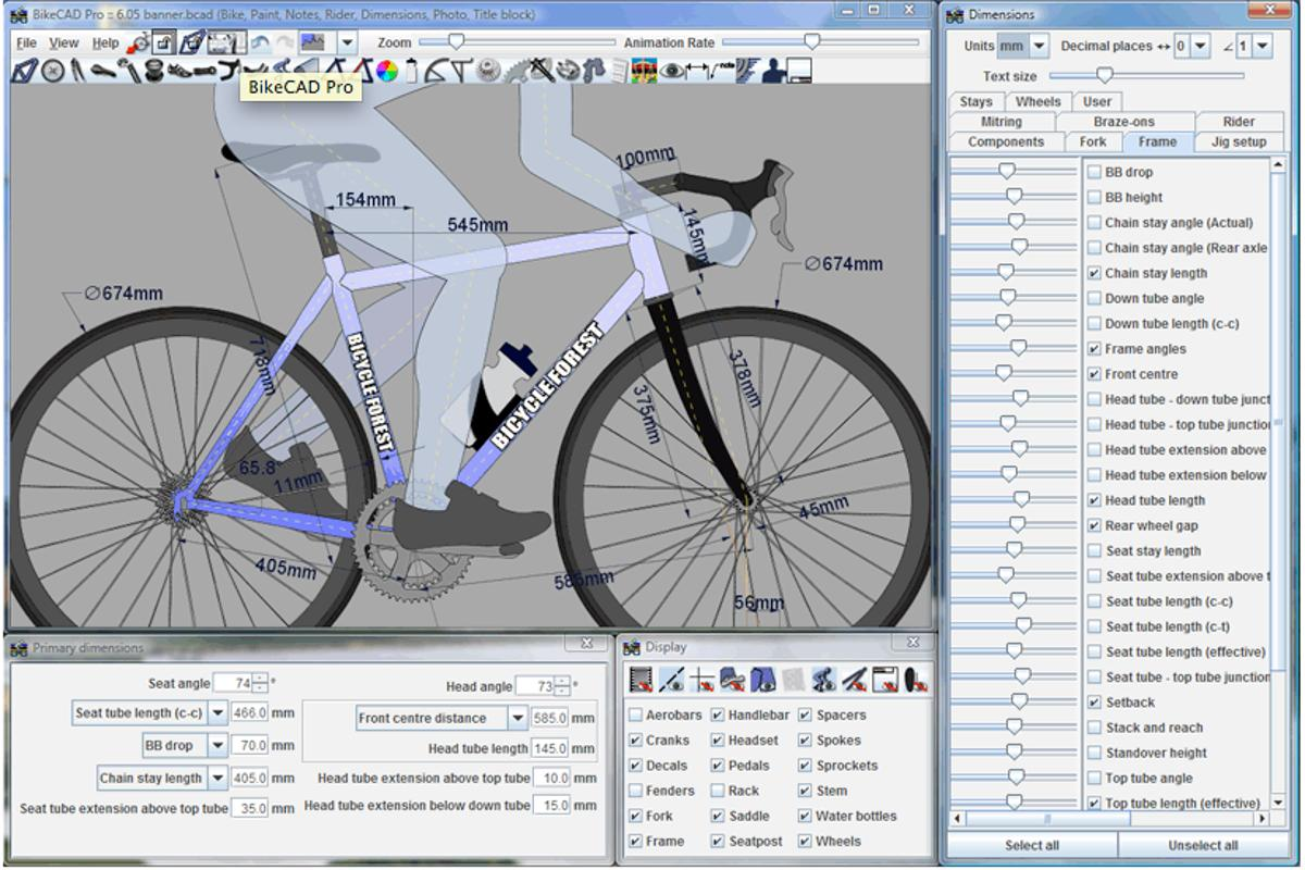 Example of a project being developed on BikeCAD Pro