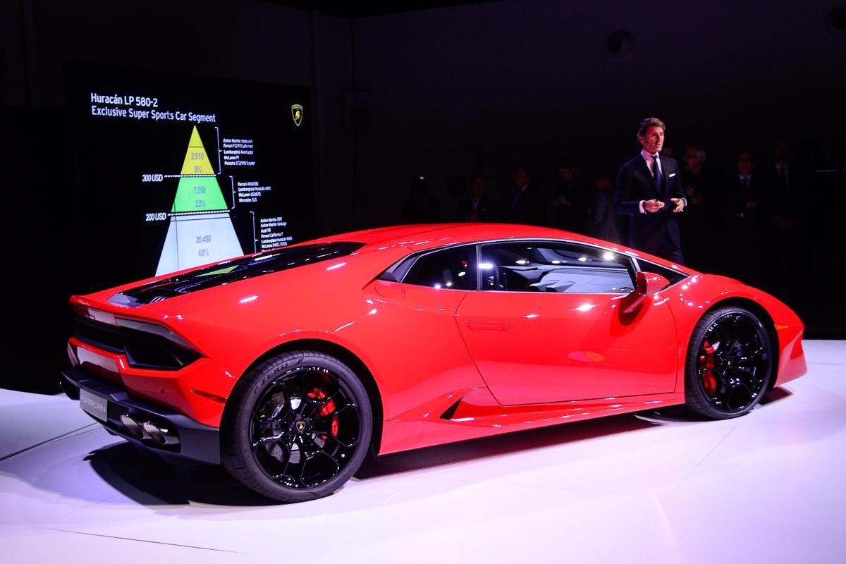 Stephan Winkelmann, president and CEO Automobili Lamborghini introduces the new Huracan