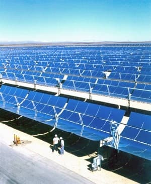 The world's largest solar power facility, located near Kramer Junction, California, consists of five Solar Electric Generating Stations and covers more than 1,000 acres.