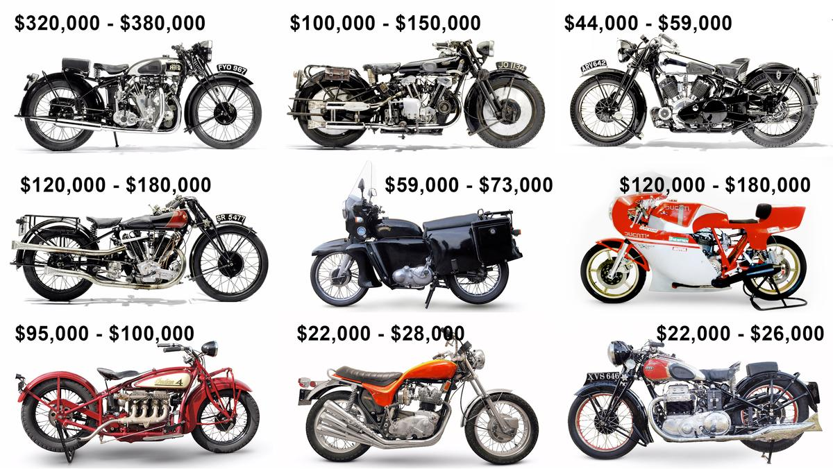 Five of these motorcycles will love into the top 250 motorcycles of all-time if they sell within their estimated price range. Can you name them?