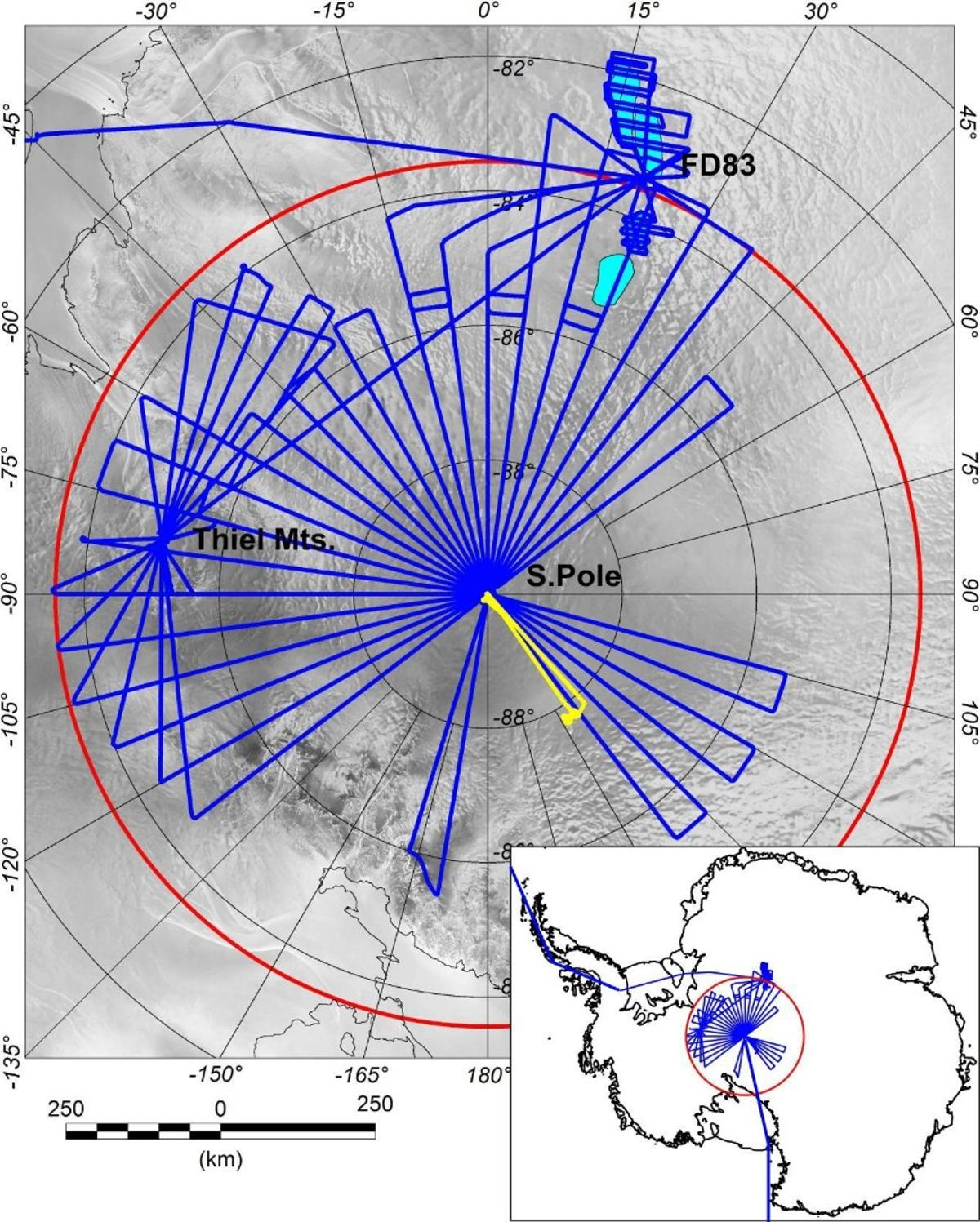 Chart of the PolarGAP survey flights that found the subglacial mountains and valleys