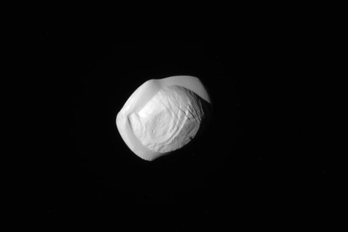 View of Pan captured by Cassini on March  7, 2017