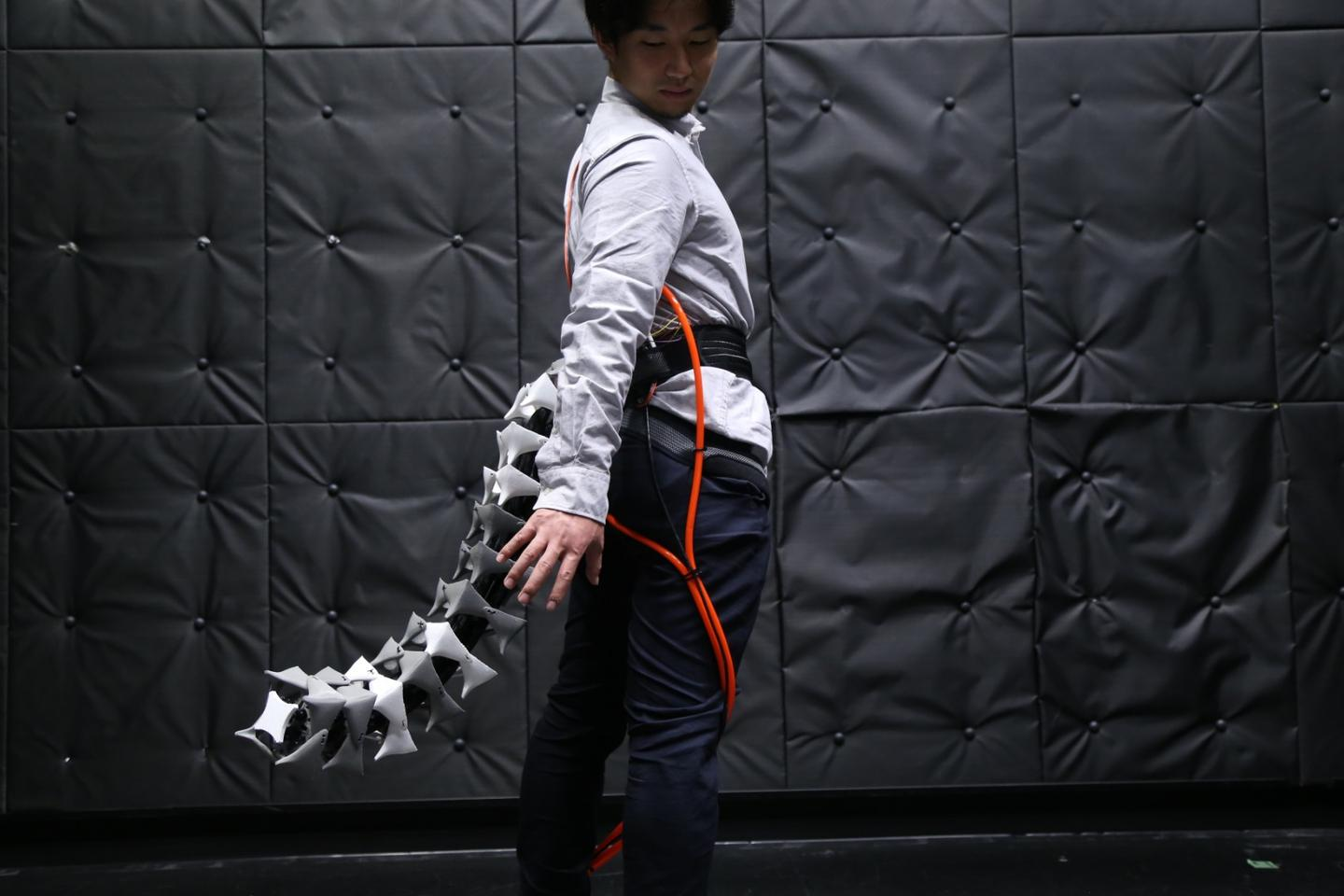 The Arque prosthetic tail could help with mobility, act as a counterweight for heavy lifting tasks, or provide realistic feedback while inside virtual worlds