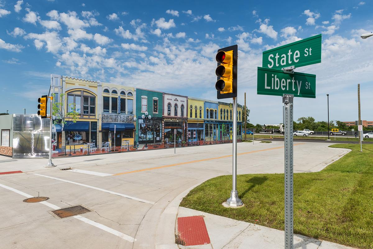 In Mcity, these conspicuously fake buildings are a part of a bigger connected proving ground for autonomous vehicles