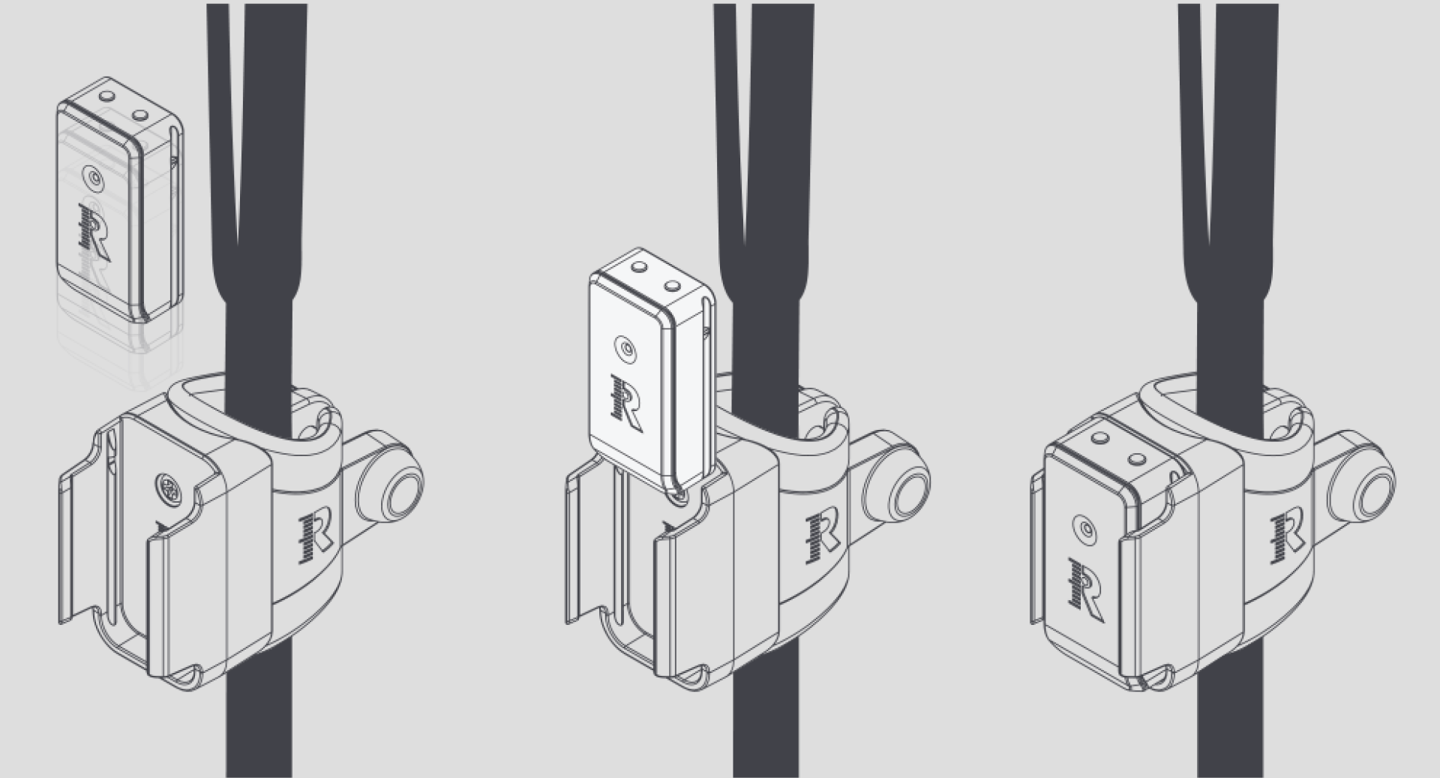 The clip that mounts the R-Motion sensor to golf clubs is simple and light