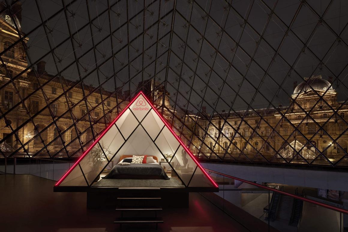 The winner of the competition and their guest will sleep in a pyramid-shaped bedroom installed withinthe Louvre's famous pyramid