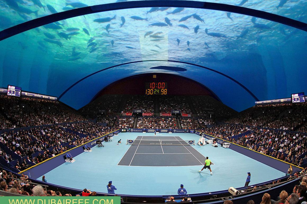 The Underwater Dubai Tennis Center, by 8 + 8 Concept Studio