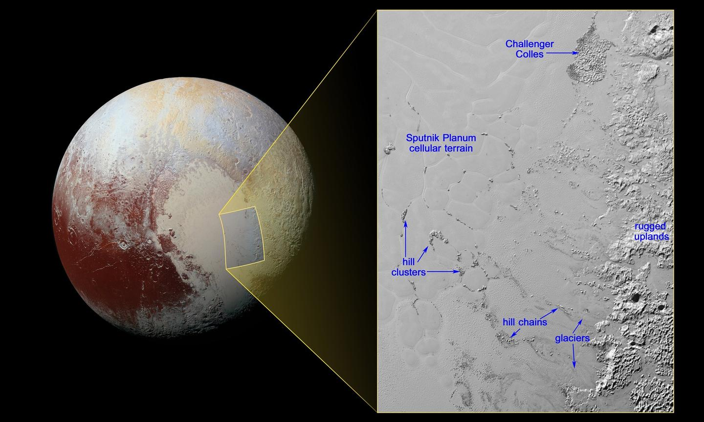 NASA graphic displaying the locations of the floating hills on the informally-named Sputnik Planum region of Pluto