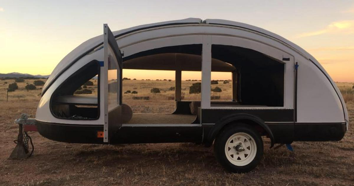 Otherworldly teardrop trailer uses chicken feather composite for light, tiny car-friendly towing
