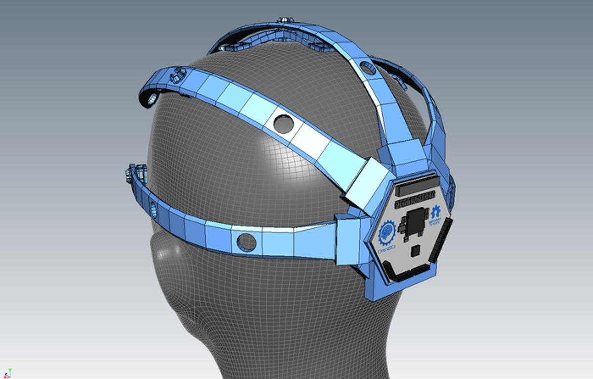 This 3D printed and modular EEG headset is designed to hold the OpenBCI electronics board