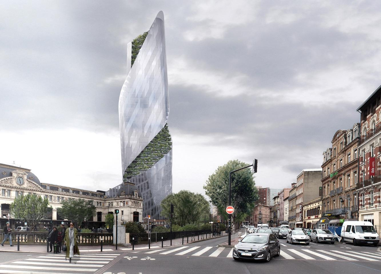 The Occitanie Tower will feature a glazed facade that's broken up by a twisting ribbon of greenery