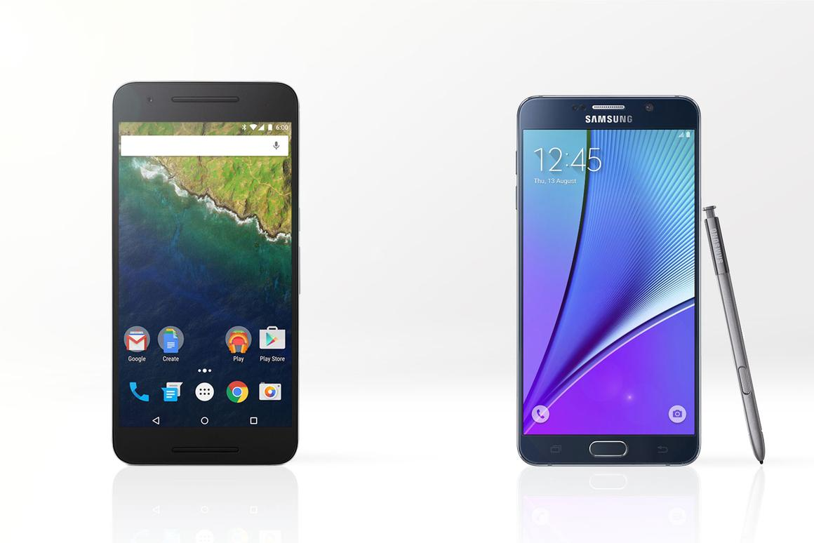 Gizmag compares the features and specs of the Google/Huawei Nexus 6P (left) and Samsung Galaxy Note 5
