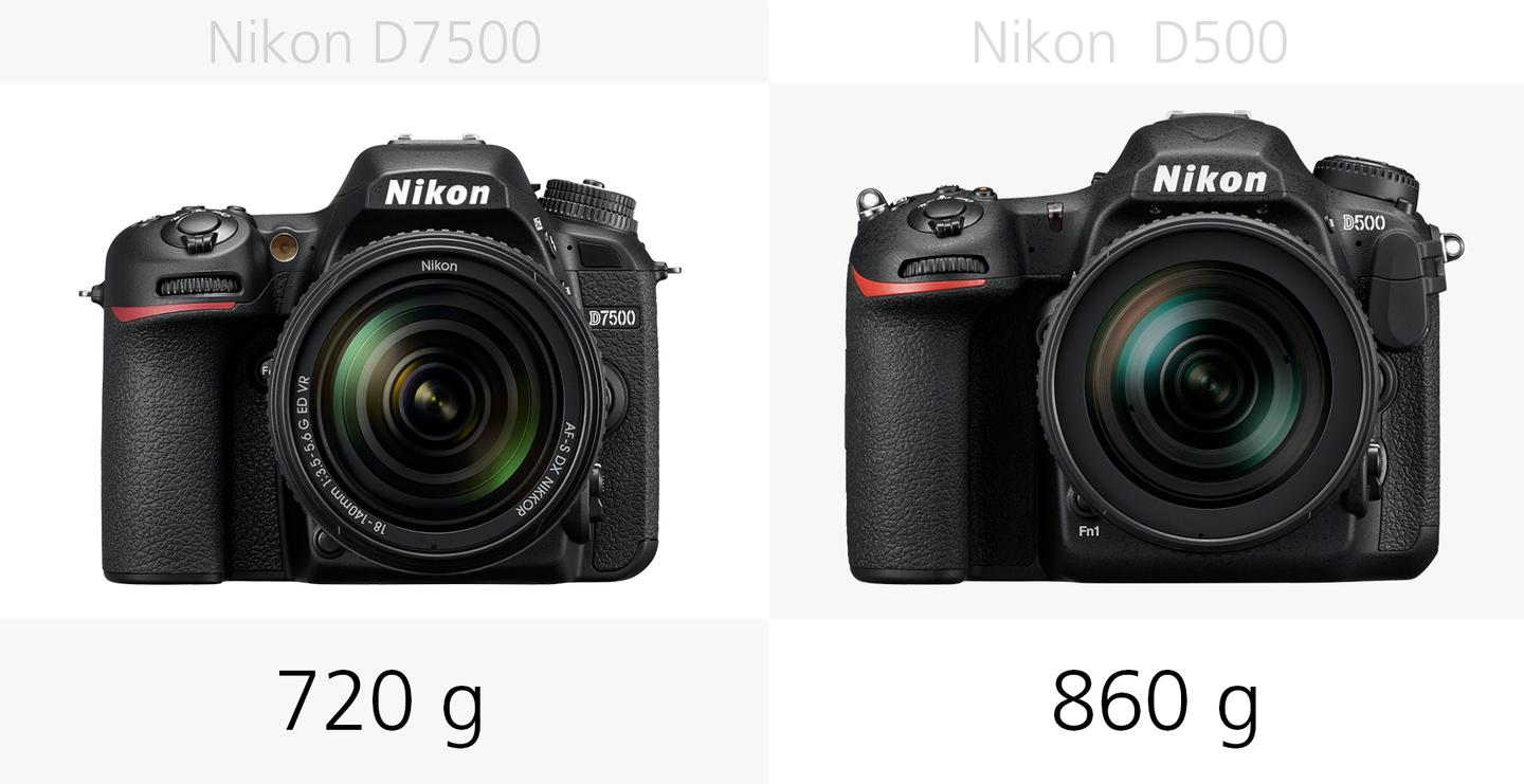 The weight of the Nikon D7500 and Nikon D500 compared