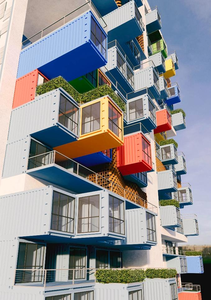 The shipping containers would be supported by a steel girder framework at a frequency of every eight stories