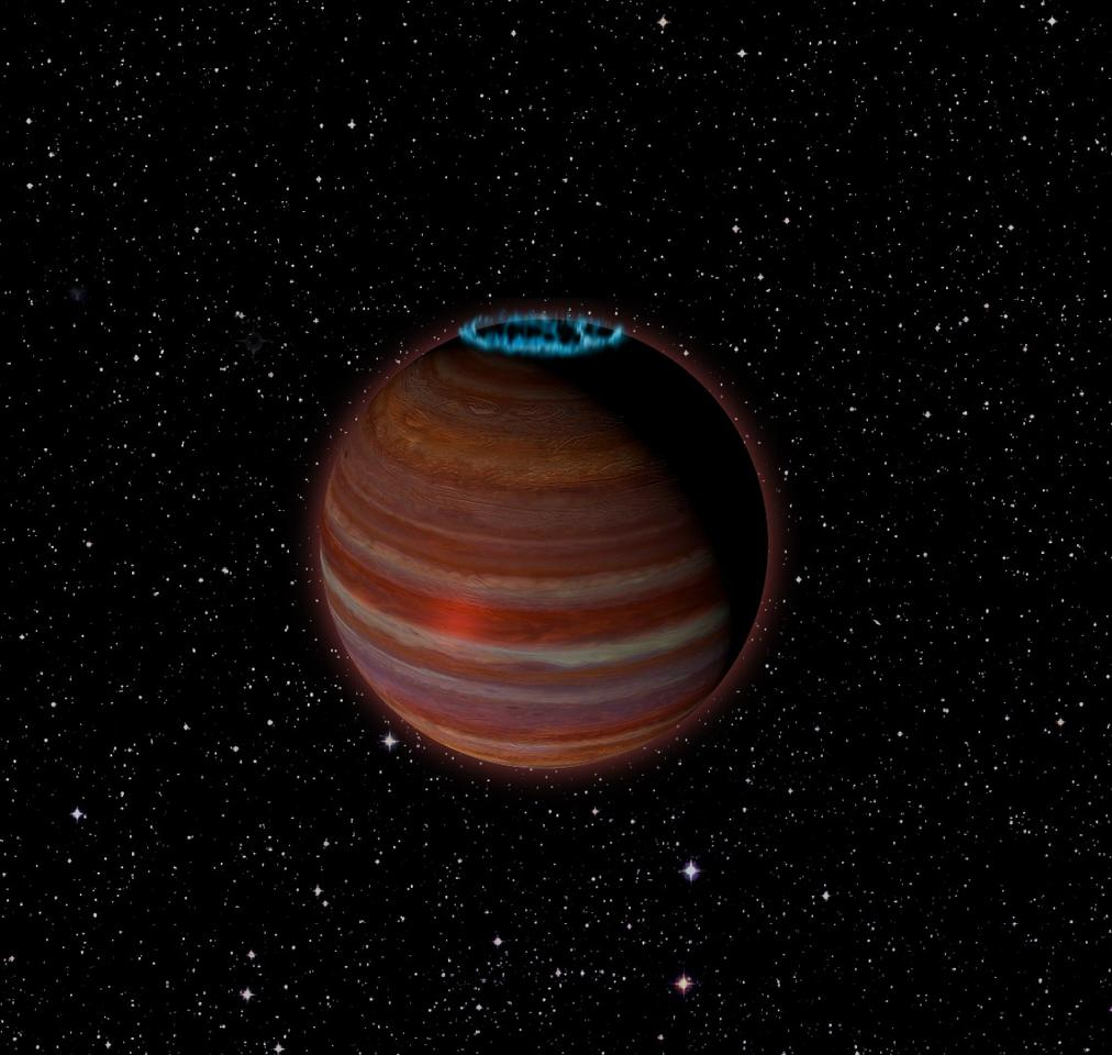 An artist's rendition of SIMP J01365663+0933473, a massive rogue planet with a surprisingly strong magnetic field