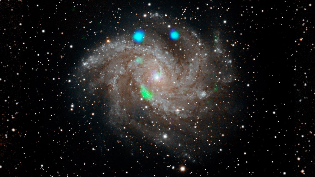 This composite image of galaxy NGC 6946 shows the visible light of stars, with x-ray data (blue and green) over the top. While observing a supernova (blue spot, top right), astronomers spotted a strange new x-ray signal (green blob, lower left) that appeared and disappeared within weeks.