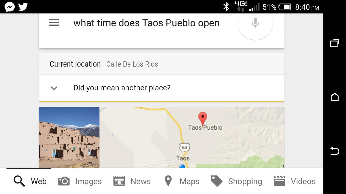 "Google Now's response to ""what time does this place open"" while sitting in the middle of Taos, New Mexico"